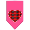 Mirage Pet Products Argyle Heart Red Screen Print Bandana Bright Pink Small