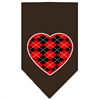Mirage Pet Products Argyle Heart Red Screen Print Bandana Cocoa Large