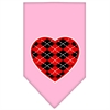 Mirage Pet Products Argyle Heart Red Screen Print Bandana Light Pink Large