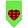 Mirage Pet Products Argyle Heart Red Screen Print Bandana Lime Green Small