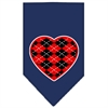 Mirage Pet Products Argyle Heart Red Screen Print Bandana Navy Blue Small
