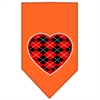 Mirage Pet Products Argyle Heart Red Screen Print Bandana Orange Large