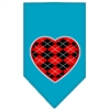 Mirage Pet Products Argyle Heart Red Screen Print Bandana Turquoise Small