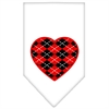 Mirage Pet Products Argyle Heart Red Screen Print Bandana White Small