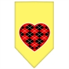 Mirage Pet Products Argyle Heart Red Screen Print Bandana Yellow Small
