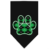Mirage Pet Products Argyle Paw Green Screen Print Bandana Black Large