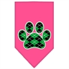 Mirage Pet Products Argyle Paw Green Screen Print Bandana Bright Pink Large