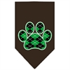 Mirage Pet Products Argyle Paw Green Screen Print Bandana Cocoa Large