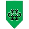 Mirage Pet Products Argyle Paw Green Screen Print Bandana Emerald Green Large