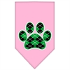 Mirage Pet Products Argyle Paw Green Screen Print Bandana Light Pink Small
