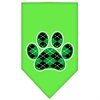 Mirage Pet Products Argyle Paw Green Screen Print Bandana Lime Green Large