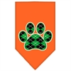 Mirage Pet Products Argyle Paw Green Screen Print Bandana Orange Small