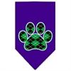 Mirage Pet Products Argyle Paw Green Screen Print Bandana Purple Small