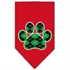 Mirage Pet Products Argyle Paw Green Screen Print Bandana Red Small