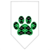 Mirage Pet Products Argyle Paw Green Screen Print Bandana White Small