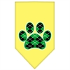 Mirage Pet Products Argyle Paw Green Screen Print Bandana Yellow Large