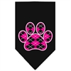 Mirage Pet Products Argyle Paw Pink Screen Print Bandana Black Large