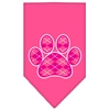 Mirage Pet Products Argyle Paw Pink Screen Print Bandana Bright Pink Large