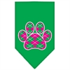 Mirage Pet Products Argyle Paw Pink Screen Print Bandana Emerald Green Small