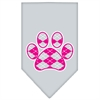 Mirage Pet Products Argyle Paw Pink Screen Print Bandana Grey Large