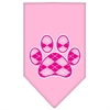 Mirage Pet Products Argyle Paw Pink Screen Print Bandana Light Pink Large