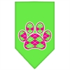 Mirage Pet Products Argyle Paw Pink Screen Print Bandana Lime Green Large