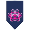 Mirage Pet Products Argyle Paw Pink Screen Print Bandana Navy Blue large
