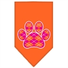 Mirage Pet Products Argyle Paw Pink Screen Print Bandana Orange Large