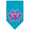 Mirage Pet Products Argyle Paw Pink Screen Print Bandana Turquoise Small