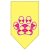 Mirage Pet Products Argyle Paw Pink Screen Print Bandana Yellow Large