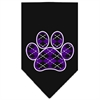 Mirage Pet Products Argyle Paw Purple Screen Print Bandana Black Large