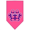Mirage Pet Products Argyle Paw Purple Screen Print Bandana Bright Pink Small