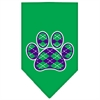Mirage Pet Products Argyle Paw Purple Screen Print Bandana Emerald Green Large