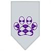 Mirage Pet Products Argyle Paw Purple Screen Print Bandana Grey Large