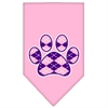 Mirage Pet Products Argyle Paw Purple Screen Print Bandana Light Pink Large