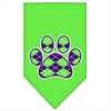 Mirage Pet Products Argyle Paw Purple Screen Print Bandana Lime Green Small
