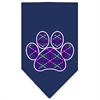Mirage Pet Products Argyle Paw Purple Screen Print Bandana Navy Blue large