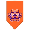 Mirage Pet Products Argyle Paw Purple Screen Print Bandana Orange Large