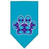 Mirage Pet Products Argyle Paw Purple Screen Print Bandana Turquoise Small