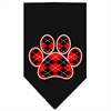 Mirage Pet Products Argyle Paw Red Screen Print Bandana Black Large