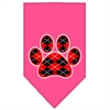 Mirage Pet Products Argyle Paw Red Screen Print Bandana Bright Pink Large