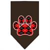 Mirage Pet Products Argyle Paw Red Screen Print Bandana Cocoa Large