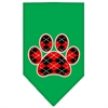 Mirage Pet Products Argyle Paw Red Screen Print Bandana Emerald Green Large