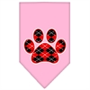 Mirage Pet Products Argyle Paw Red Screen Print Bandana Light Pink Small