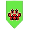 Mirage Pet Products Argyle Paw Red Screen Print Bandana Lime Green Small