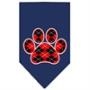 Mirage Pet Products Argyle Paw Red Screen Print Bandana Navy Blue large