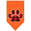 Mirage Pet Products Argyle Paw Red Screen Print Bandana Orange Small