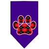 Mirage Pet Products Argyle Paw Red Screen Print Bandana Purple Large