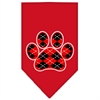 Mirage Pet Products Argyle Paw Red Screen Print Bandana Red Small