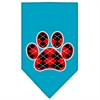 Mirage Pet Products Argyle Paw Red Screen Print Bandana Turquoise Small